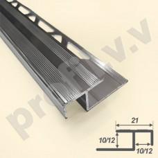 Алюминиевый профиль угловой V.V.A-PS10x21 /12x21 закладной ECO