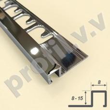 Латунный хромированный профиль V.V.A-LX-KVU8/10/11/12,5/15 ECO с прямоугольным сечением
