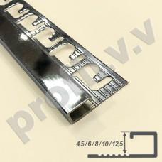 Латунный хромированный профиль V.V.A-LX-KV4,5/6/8/10/12,5 с прямоугольным сечением