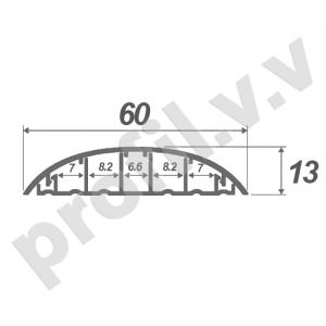 Алюминиевый порог (стык)  V.V.A-RKK60 с кабель-каналами