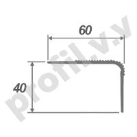 Порог (угол) алюминиевый V.V.R-UN60x40 /V.V.A-UN60x40