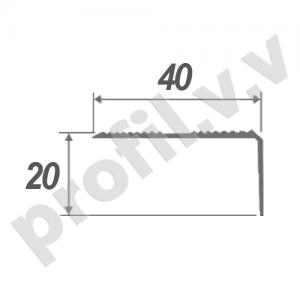 Алюминиевый порог угловой V.V.A-UN40x20