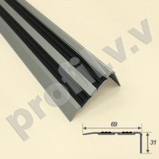 Алюминиевый порог угловой V.V.A-UN31x69R противоскользящий