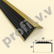 Порог (угол) алюминиевый с резиновой вставкой V.V.R-UN40x20R, 40х20 мм