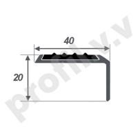 Порог (угол) алюминиевый с резиновой вставкой V.V.R-UN40x20R
