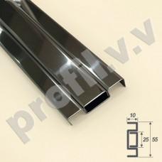 Плинтус из нержавеющей стали V.V.A-N-PLK55 напольный с кабель-каналом